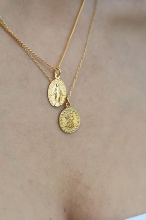 Minimal vintage coin necklace gold-plated