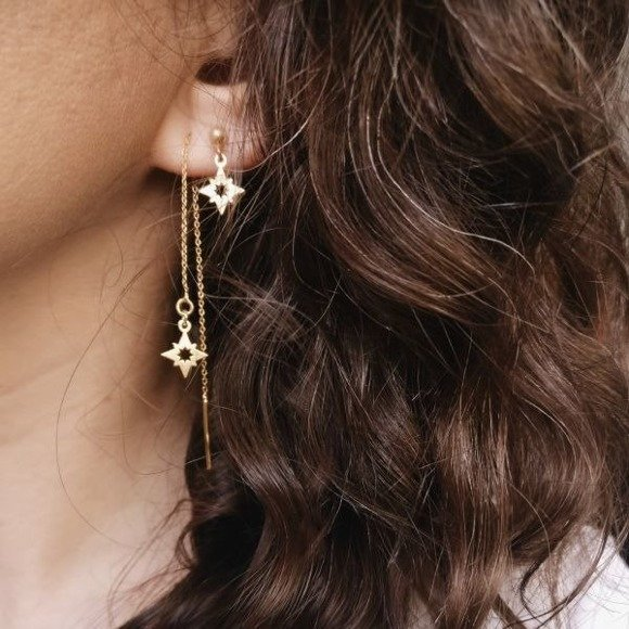 North Star earrings 925 gold-plated