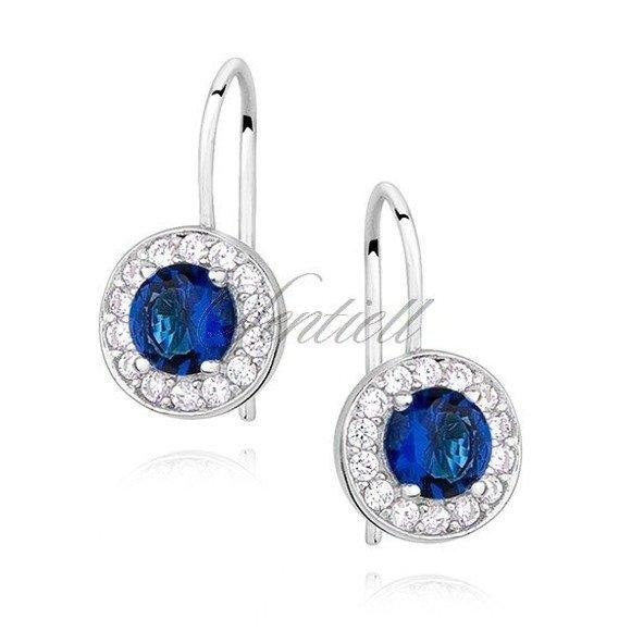 Silver (925) Earrings sapphire colored zirconia