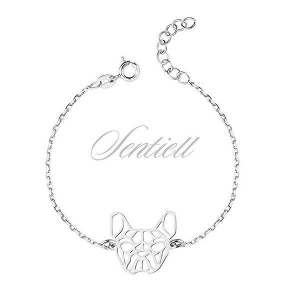 Silver (925) bracelet - Origami french bulldog