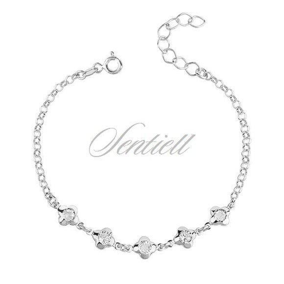Silver (925) bracelet - flowers with zirconia