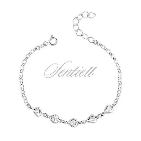 Silver (925) bracelet - hearts with zirconia
