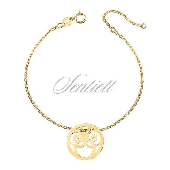 Silver (925) bracelet - openwork circle, gold-plated