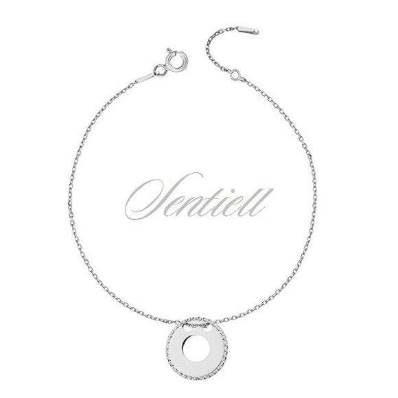 Silver (925) bracelet with diamond-cut, round pendant