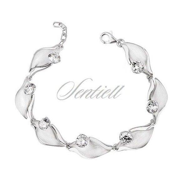 Silver (925) bracelet with white zirconia