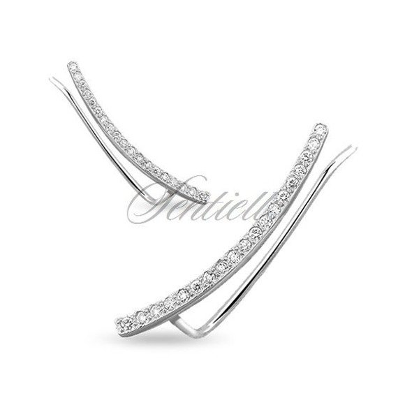 Silver (925) cuff earrings with zirconia
