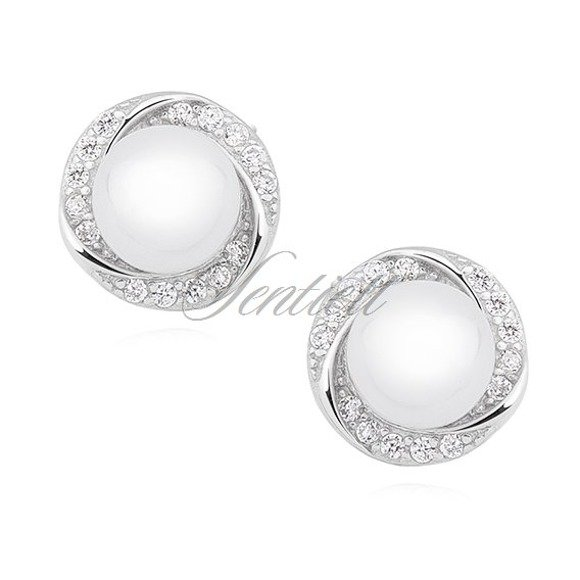 Silver (925) earrings white pearl and zirconia