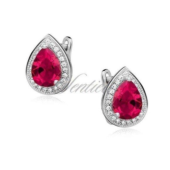 Silver (925) earrings with ruby zirconia