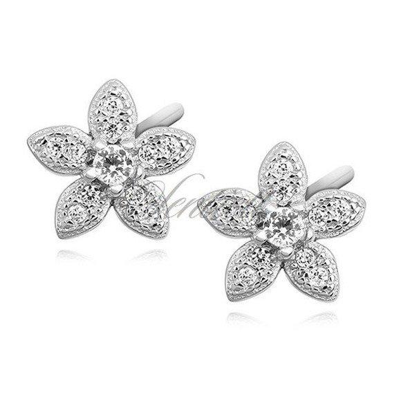 Silver (925) elegant earrings - flowers with zirconia