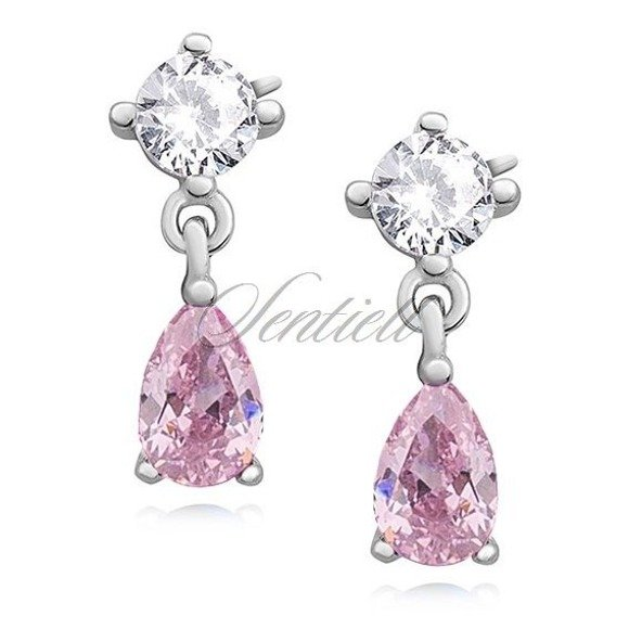 Silver (925) elegant earrings with light pink zirconia