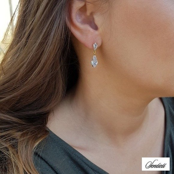 Silver (925) elegant earrings with zirconia, gold-plated