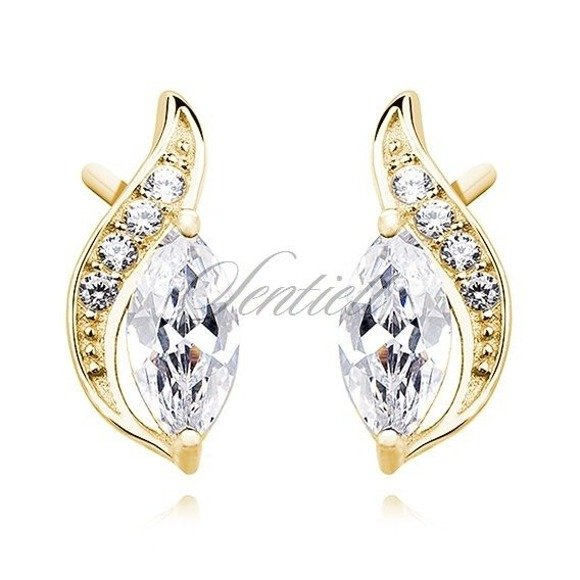 Silver (925) elegant gold-plated earrings with white marquoise zirconia