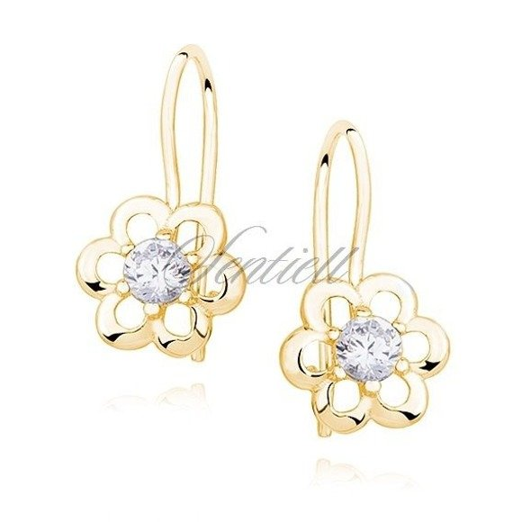 Silver (925) gold-plated Earrings white zirconia