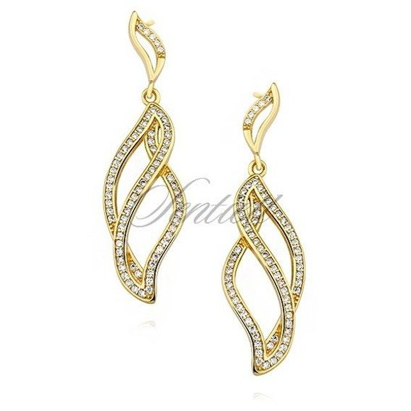 Silver (925) gold-plated earrings with zirconia