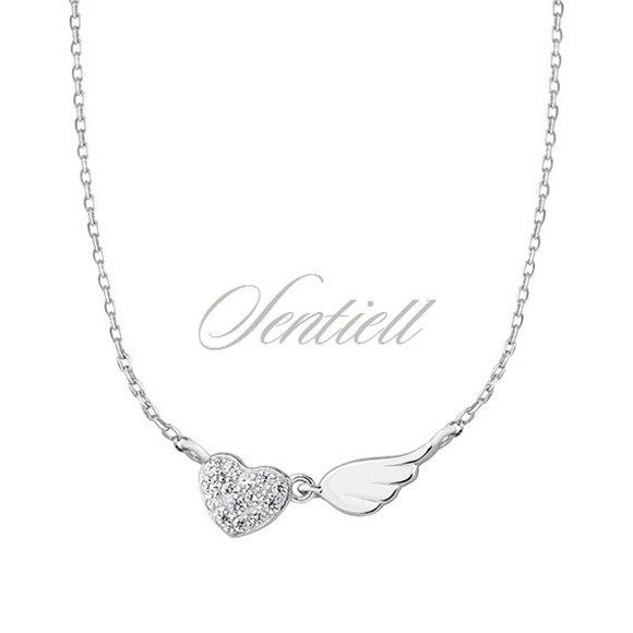Silver (925) necklace - heart with zirconia and wing