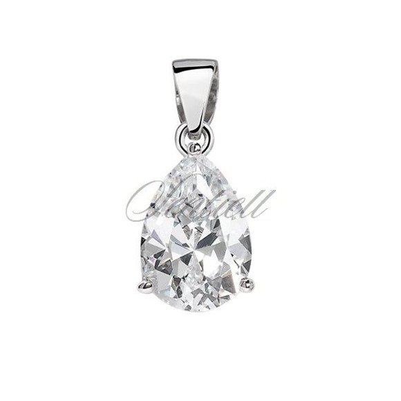 Silver (925) pendant tear-shaped white zirconia - 7 x 9mm