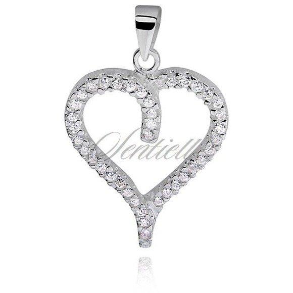 Silver (925) pendant white zirconia - heart