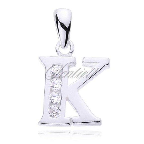 Silver (925) pendant white zirconia - letter K