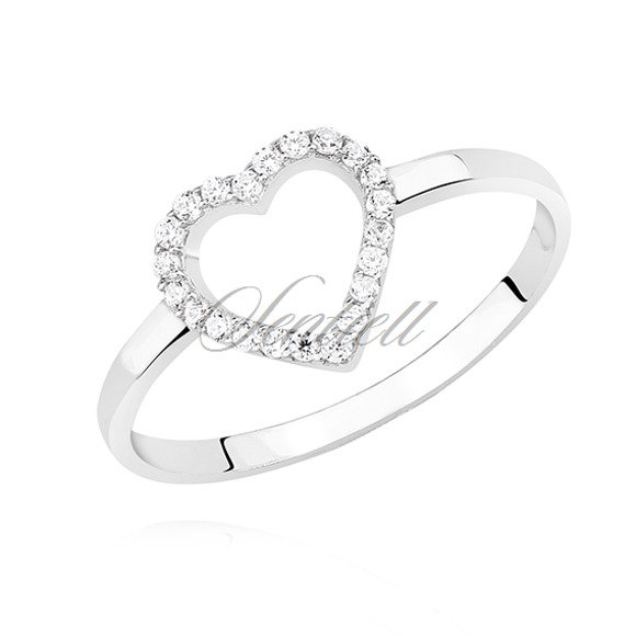 Silver (925) ring with white zirconia - heart