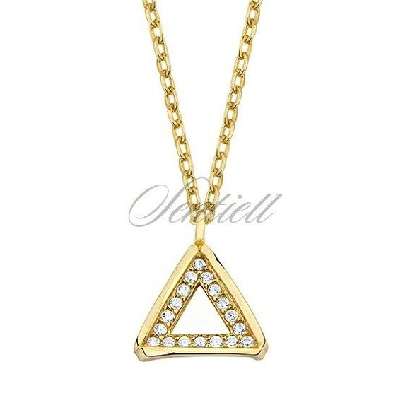 Silver gold-plated (925) necklace  - triangle with zirconia
