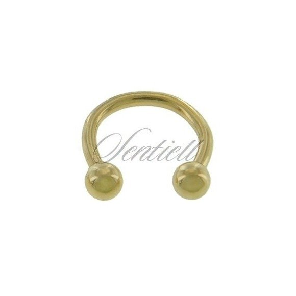 Stainless steel (316L) horseshoe piercing with balls - golden