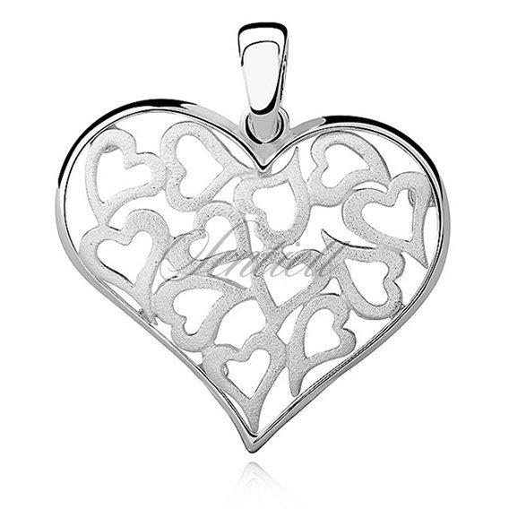 78a7859d75d6e5 Srebrna duża zawieszka pr.925 serce ażurowe wypełnione serduszkami Kliknij,  aby powiększyć
