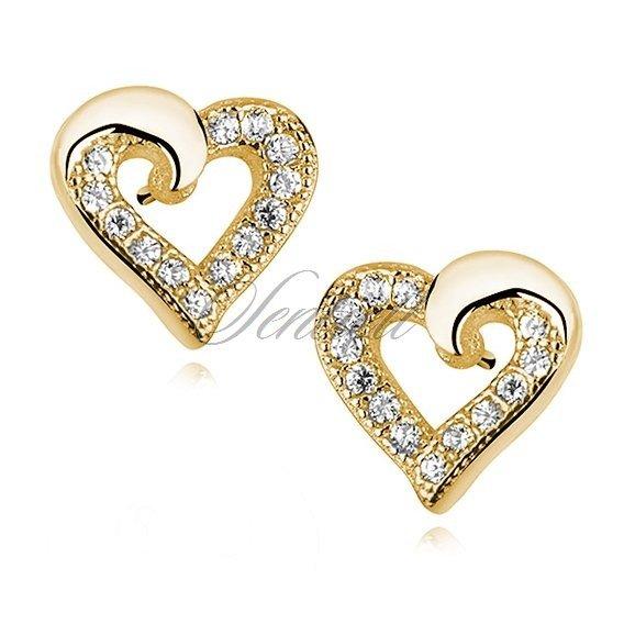 e532a0f06b798b Srebrne kolczyki wkrętki pr. 925 pozłacane małe serca z cyrkoniami Kliknij,  aby powiększyć