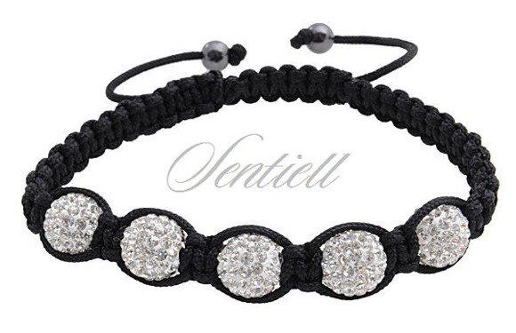 Bransoletka sznurkowa Crystal Beads - biała z hematytem