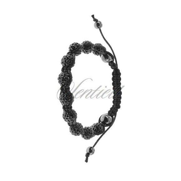 Bransoletka sznurkowa pr.925 czarna z krzemem