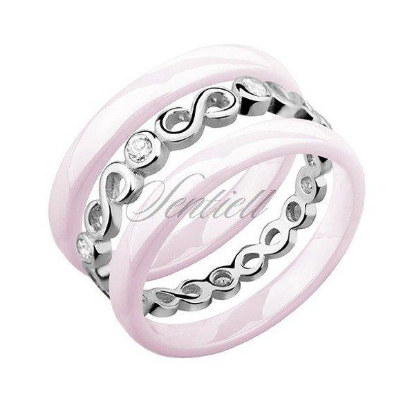 Dwa różowe pierścionki ceramiczne i pierścionek srebrny z cyrkoniami - Nieskończoność