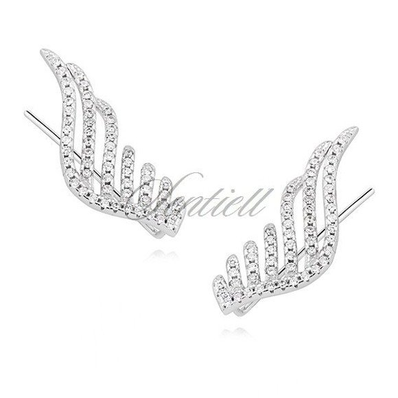 3b6a006e7b5c3c Kolczyki nausznice ozdobne duże skrzydła z cyrkoniami pr.925 ...