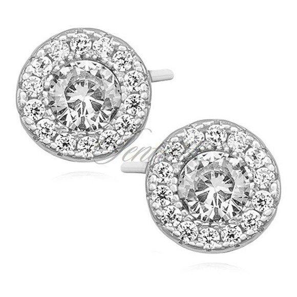 Kolczyki srebrne okrągłe sztyfty z białą cyrkonią