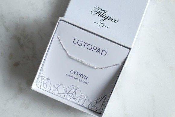 LISTOPAD - naszyjnik srebrny z cytrynem