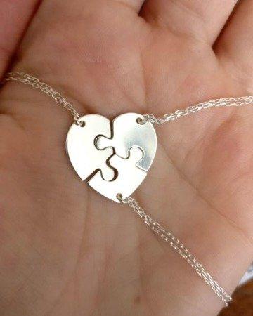 Naszyjnik srebrny serce z puzzli srebro 925 komplet srebrnych naszyjników dla sióstr, mamy, przyjaciółek