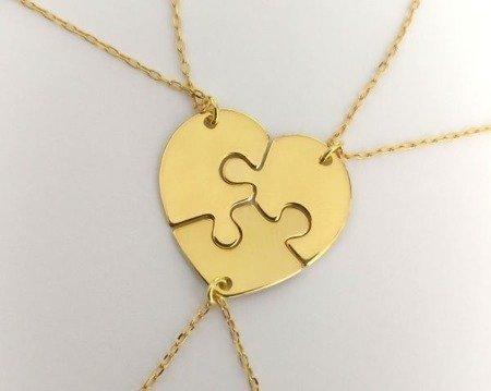 Serce z puzzli komplet pozłacanych naszyjników dla sióstr, mamy, przyjaciółek
