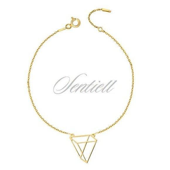 Srebrna bransoletka pr.925 - Origami trójkąt, pozłacana