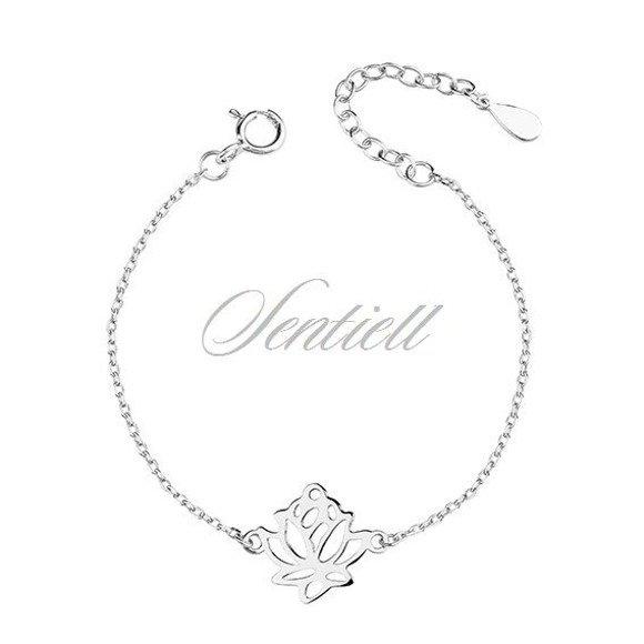 Srebrna pr.925 bransoletka kwiat lotosu