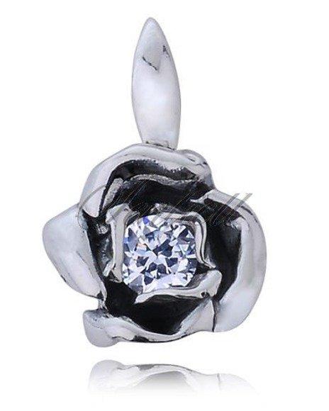 Srebrna zawieszka pr.925 Cyrkonia biała kwiat
