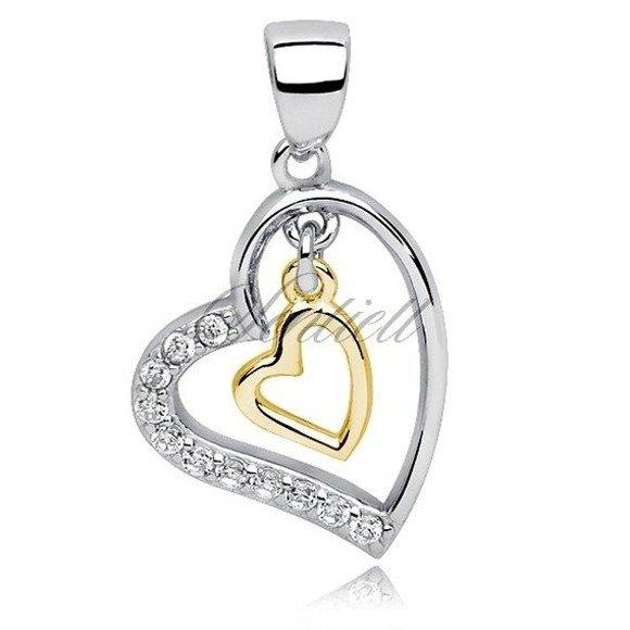 Srebrna zawieszka pr.925 wiszące pozłacane serce w sercu z cyrkoniamii