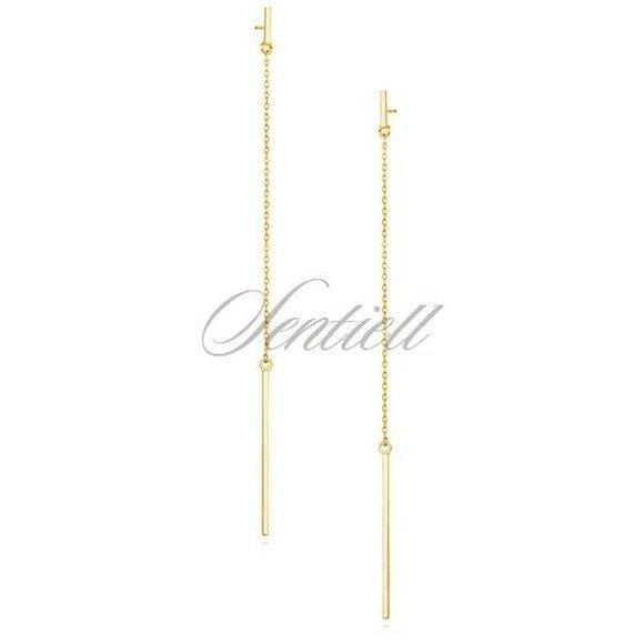 Srebrne pr.925 minimalistyczne długie wiszące kolczyki blaszki na łańcuszkach pozłacane