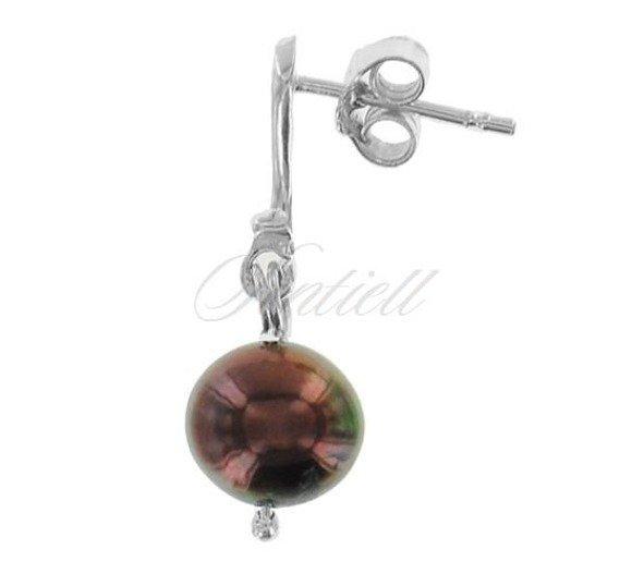 Srebrne kolczyki pr.925 Perła naturalna brązowa