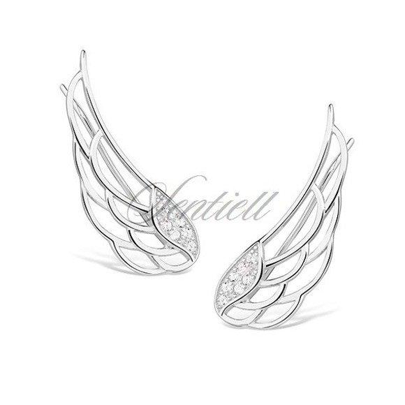 Srebrne kolczyki pr. 925 nausznice skrzydła anioła z cyrkoniami