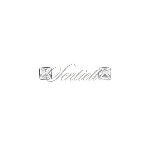Srebrne pr.925 kolczyki do nosa kwiatki z cyrkonią białą w opakowaniu