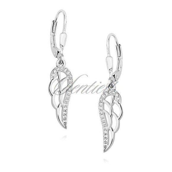 Srebrne pr.925 wiszące kolczyki ozdobne skrzydła anioła z cyrkoniami bigiel angielski