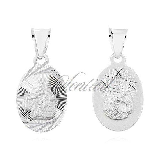 Srebrny diamentowany medalik Jezus Matka / Boska Szkaplerzna
