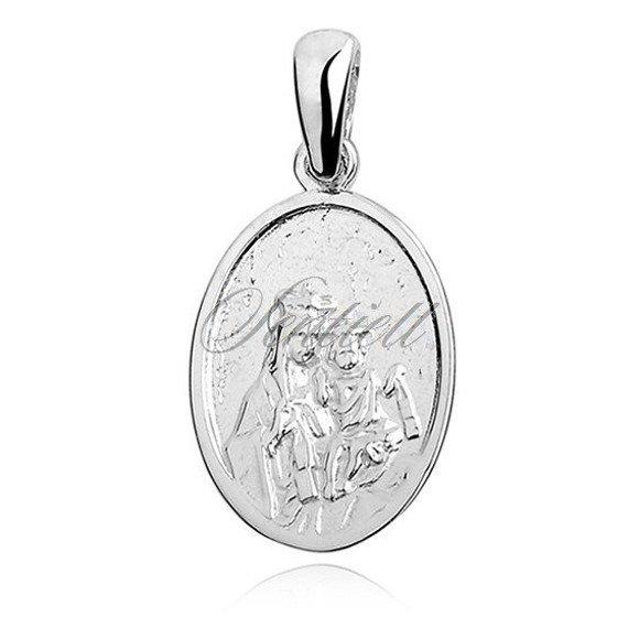 Srebrny owalny duży medalik Jezus / Matka Boska Szkaplerzna