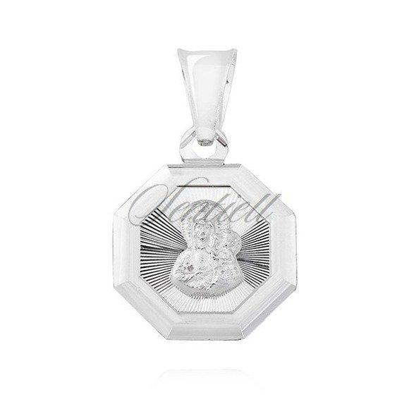 Srebrny ośmiokątny medalik Matka Boska Częstochowska