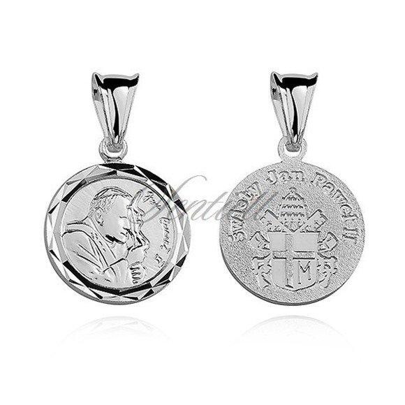 Srebrny diamentowany medalik Święty Jan Paweł II