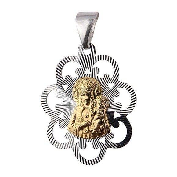 Srebrny ozdobny medalik pr.925 Matka Boska Częstochowska pozłacany