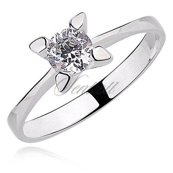 Srebrny okrągły pierścionek pr.925 Cyrkonia biała z dużą oprawą